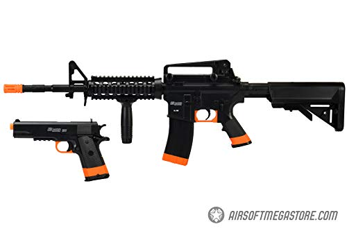 Sig_Sauer Patrol Kit w/Spring Pistol amp M4 AEG Airsoft Rifle 5000 BBS Included Black/Orange
