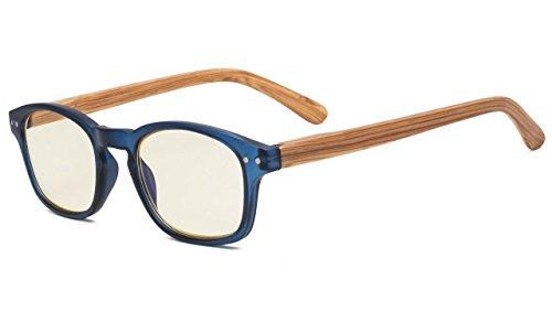 Eyekepper Aste bambù disegno degli occhiali da lettura di protezione UV, Cerniera a molla anti-riflettente computer occhiali (Calibro blu, Lenti colorati gialli) +0.75