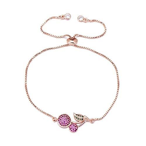 FUKAI Christmas Fruit Collection Pink Zircon Stone Cherry Bracelet Women Girls Children Kids Slide Chain Charm Bracelet Jewelry (Color : Rose gold)