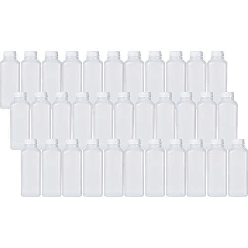 16 Oz Empty Plastic Juice Bottles with Tamper Evident Caps – 33 Pack Drink Containers - Great for Homemade Juices, Milk, Smoothies, Tea and Other Beverages - Food Grade BPA Free