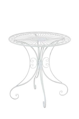 CLP Tavolino in Ferro Giardino Hari I Tavolino Tondo Outdoor Stile Rustico I Tavolino Salotto Design, Colore:Bianco