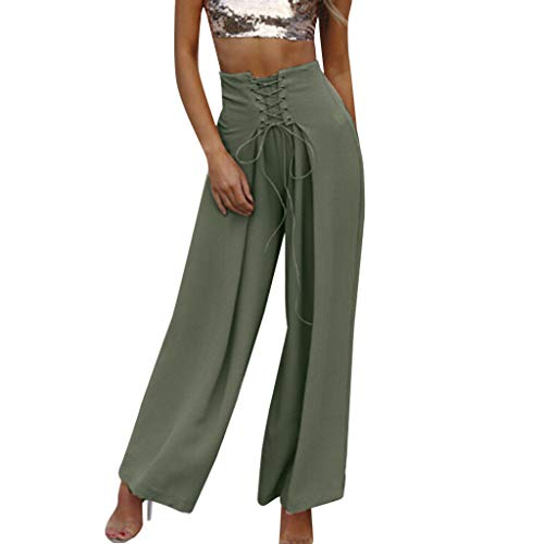 WOZOW Damen Weites Bein Hosen Solid Swing Riemchen Crossover Tie Tunika Slimming Lose Loose Trousers High Waist Casual Mode Stoffhose (2XL,Grün)