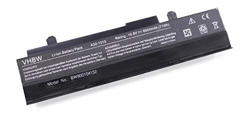 vhbw Li-Ion Akku 6600mAh (10.8V) schwarz für Notebook Laptop Asus Eee PC EPC 1016P wie A32-1015, A31-1015, AL31-1015, PL32-1015.