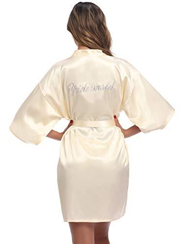 Aibrou Kimono Damen Morgenmantel Bademantel Nachtwäsche Sleepwear Kurz Satin Robe Bademante mit V Ausschnitt Gürtel für Braut Hochzeit Party Brautjungfern Junggesellenabschied Farbe: Champagner, Gr.M