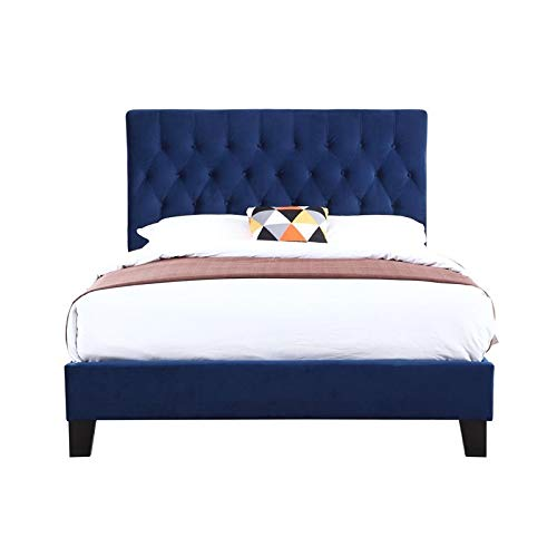 Pemberly Row Navy Blue Queen Size Upholstered Tufted Platform Panel Bed
