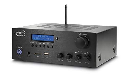 Dynavox Stereo Kompakt-Verstärker VT-80 MK, 4 schraubbare Lautsprecher-Anschlüsse, Fernbedienung für Digital-Eingänge (USB, SD-Card), integrierte BT-Antenne und FM-Radio, schwarz