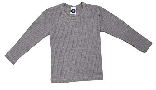 Cosilana, Kinder Unterhemd Langarm, 45% KBA Baumwolle, 35% kbT Wolle, 20% Seide (128, Grau meliert)