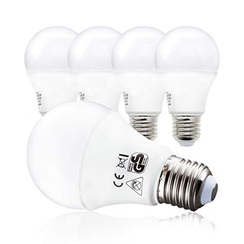 B.K.Licht LED Glühbirne, 5er Set E27, A60 Leuchtmittel, 9 Watt, 806 Lumen, 2700 Kelvin