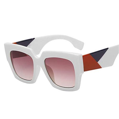 ZZOW Gafas De Sol A La Moda De Gran Tamaño Trend Square Gafas De Sol para Mujer Gafas con Lente Degradada Hombres Colores Mezclados Patas Gafas De Sol Sombras