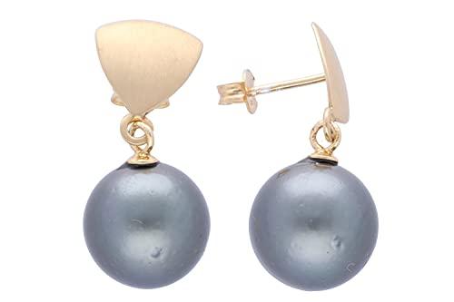 Pendientes de perlas de Tahití de 12,5 x 27 mm en triángulo de plata dorado.
