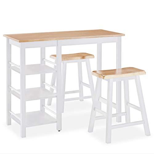 vidaXL Set Muebles Bar 3 Piezas Blanco Mobiliario Mesa Silla Alta Salón...