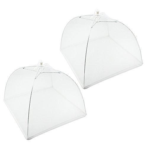 COM-FOUR® 2x cloche alimentaire en tissu de protection - housse pour les repas - hottes anti-insectes à 44 cm (02 pièces - blanc)