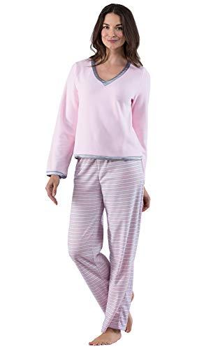 PajamaGram Pajamas for Women Soft - Fleece Womens Pajama Sets, Pink, M, 8-10