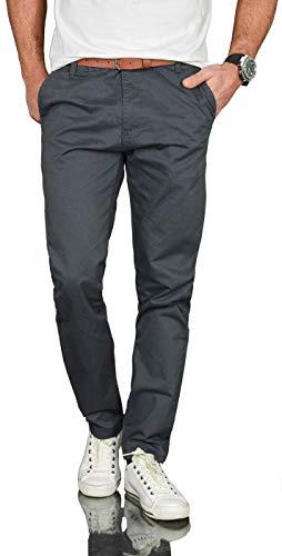 A. Salvarini Herren Designer Business Chino Hose Chinohose Regular Fit AS-095 [AS-095 - Anthrazit - W36 L30]