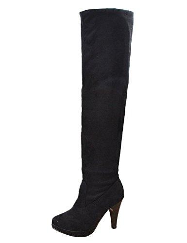 Minetome Kniehohe Stiefel für Damen, Overknees, lang, Einfacher hoher Absatz, schwarz - schwarz - Größe: 39 EU
