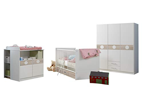 lifestyle4living Babyzimmer Set, komplett, 3-TLG. weiß/Eiche-sägerau-Nachbildung, Schrank B: 135 cm, Babybett inkl. Lattenrost 70 x 140 cm, Wickelkommode B: 90 cm