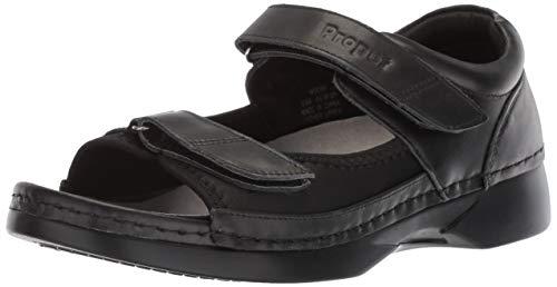 Propet Women's Pedic Walker Mary Jane Flat, Black Stretch, 10 W US
