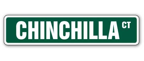"CHINCHILLA Street Sign pet cage guinea pig signs | Indoor/Outdoor | 36"" Wide Plastic Sign"