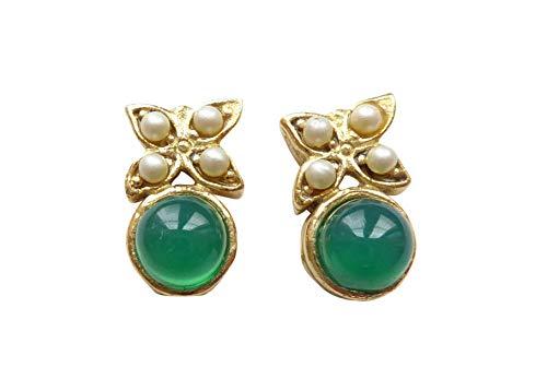 Kleine verspielte Achat-Ohrstecker Ohrringe grün Süßwasser-Perlen Silber vergoldet leicht...