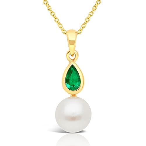 Planetys – Collar de oro 375/1000 perla cultivada y esmeralda natural – Longitud 42 – 45 cm