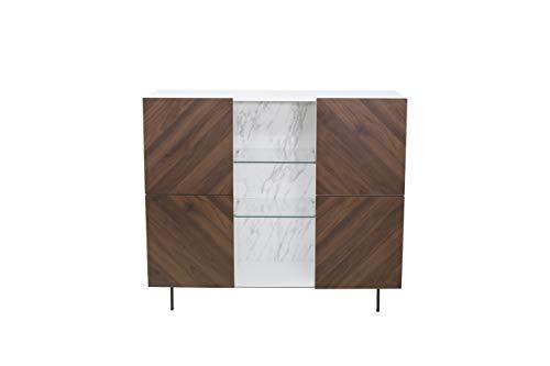 Amazon Marke - Rivet Sideboard, 120 x 42 x 103cm, Nussbaum/Weiß