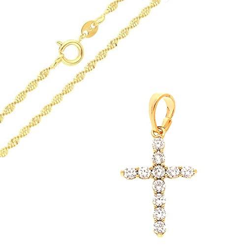 Cadena y colgante de cruz de cristal blanco, oro amarillo 750 laminado*