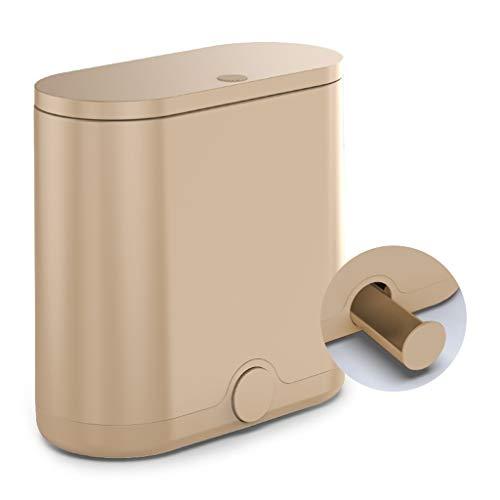 Classified prullenbak met deksel Thuis Woonkamer Keuken Badkamer Creative dubbele slots Vuilnisbak Grote papier mand met vuilniszakken voorraadbak (Color : Brown)