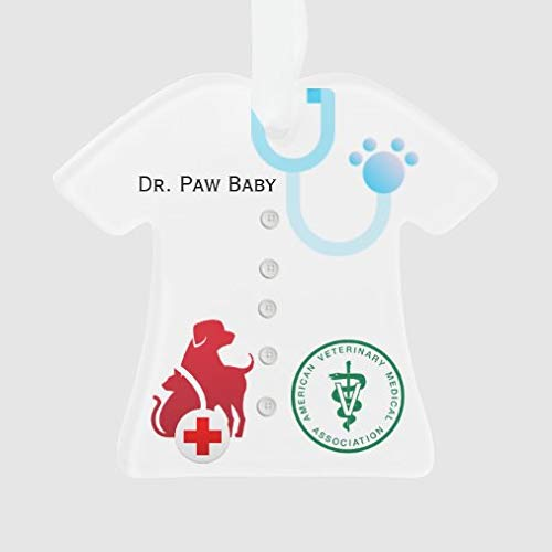 onepicebest Merry Christmas Ornaments Personalized Unisex Lab Coat Veterinarian Tree T-Shirt Ornament Funny Xmas Presents, Holiday Tree Decoration Stocking Stuffer Gift