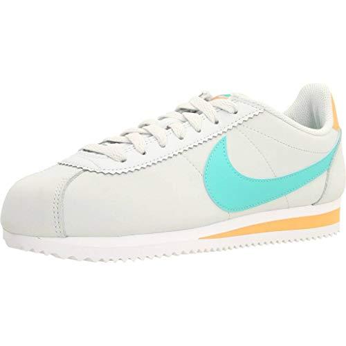 Nike Wmns Classic Cortez Leather, Zapatillas de Atletismo Mujer, Multicolor (Pure Platinum/Hyper Jade/Fuel Orange 000), 38 EU
