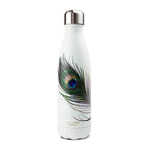WD lifestyle WD365, Bottiglia Termica Acciaio Inox Unisex Adulto, Pavone, Medium