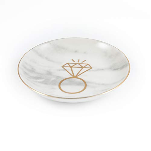 Marble Ceramic Ring Dish Jewelry Dish Ring Holder Jewelry Organizer with Golden Edged - Home Decor - Unique Wedding Gifts, Engagement Gifts, Bridal Shower Gifts, for Women and Wife