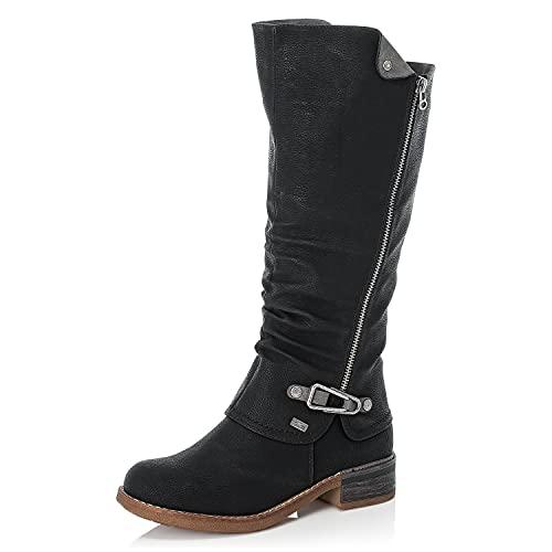 Rieker DAMES Laarzen 94652, Vrouwen Winterlaarzen,riekerTEX,winter laarzen,laarzen met lange schacht,gevoerd,warm,Zwart (schwarz / 00),38 EU / 5 UK
