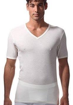 magliette uomo intimo RAGNO 3 Maglie Lana Merino/Cotone sulla Pelle (Art.sintonia 65458) Scollo A V Bianco Lana (5)