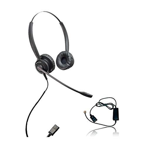 XS 825 Headset Bundle with Ergonomic Telephone Cable | for RJ9 Phones with Headset Port - VoIP, IP, Digital Phones: Cisco, Mitel, ShoreTel, Aastra, Toshiba, Nortel, Meridian, Yealink, NEC, Allworx