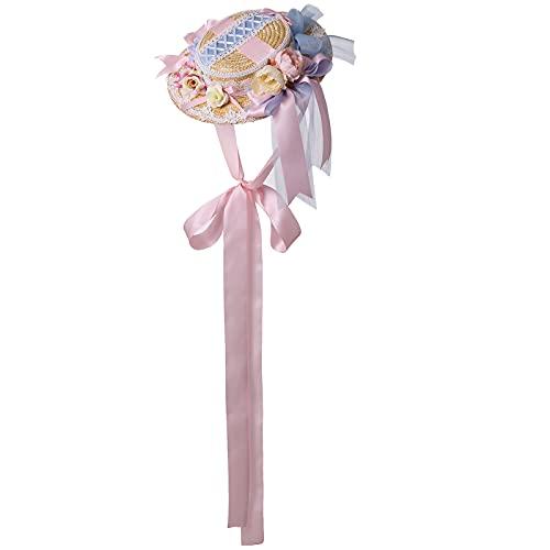 Sombrero de paja de encaje Lolita para fiesta de té, para mujer