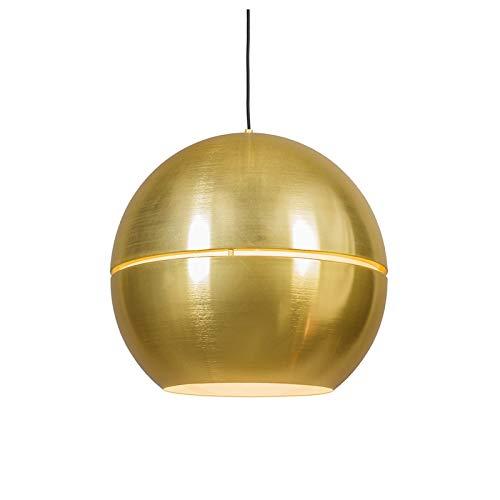 QAZQA Art Deco/Design/Modern/Retro Art Deco Hängelampe Gold/Messing 50 cm - Slice/ 2-flammig/Innenbeleuchtung/Wohnzimmerlampe/Schlafzimmer/Küche Aluminium Rund/Kugel/Kugelförmig LED ge