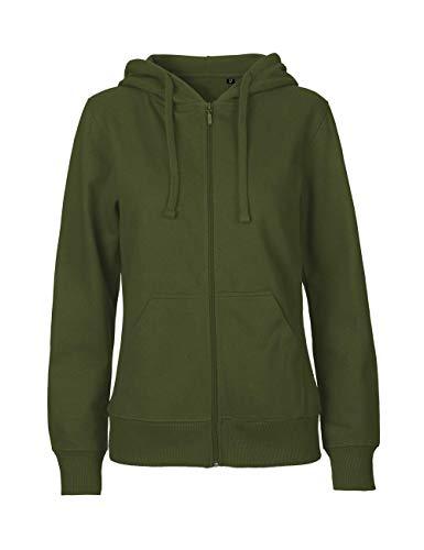 Green Cat Damen Kapuzenjacke, 100{fb978c9e56e2b09efa0117be92614f0c0fa838dd94c7020b095682de8e29f182} Bio-Baumwolle. Fairtrade, Oeko-Tex und Ecolabel Zertifiziert, Textilfarbe: Oliv, Gr.: M