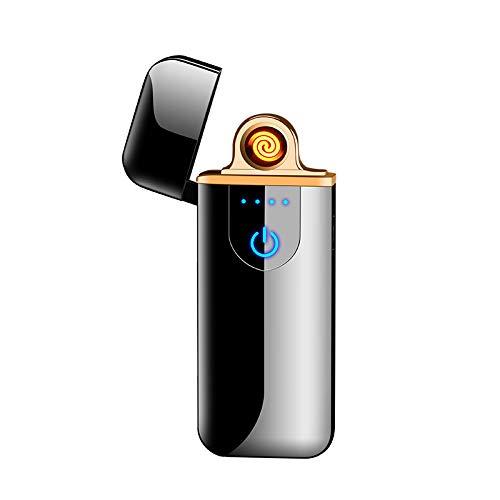 Aujelly Elektronisches Feuerzeug, Lichtbogenfeuerzeug, USB-Aufladung mit Zwei elektronischen Lichtbögen, winddichtes Plasmafeuerzeug, flammenloses Taschenzigarettenfeuerzeug (Glatteis)