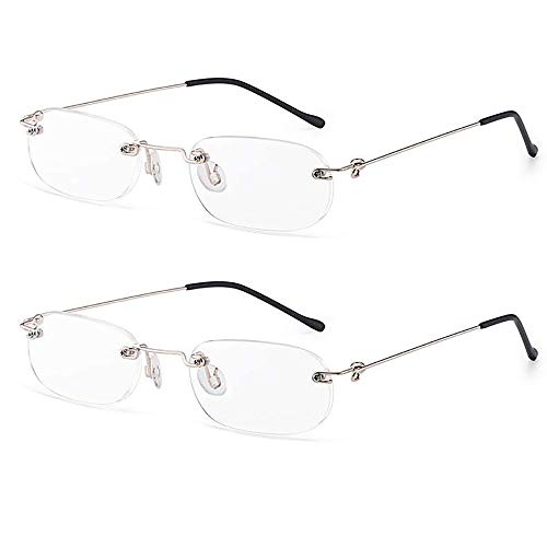 Lightweight Rimless Reading Glasses 2 Pairs Ultra Thin Readers Quality Spring Hinged Crystal Clear Lenses Eyeglasses for Men and Women, 1.50