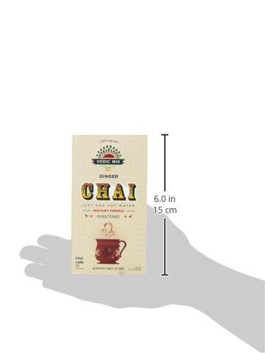 Vedic Mix Sweetened Chai Tea Latte, Ginger (10 Single-serve Packets)
