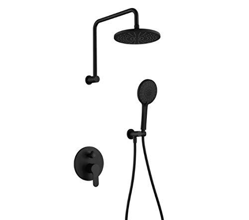 YEZIN Cabeza de Ducha Set de Ducha Grifo Empotrado de Pared Ducha Negra para Piel Seca y Cabello. (Color : Black)