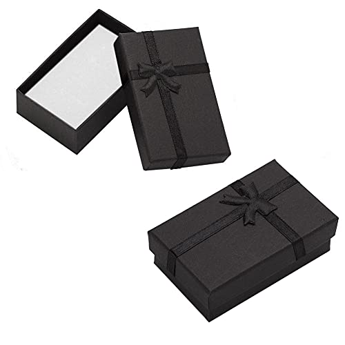CheeseandU 12Piece Jewelry Gift Boxes for Rings, Pendants, Necklaces - Ideal for Anniversaries, Weddings, Birthdays - Black with Ribbon Bow, 3.15 x 1.96Inches