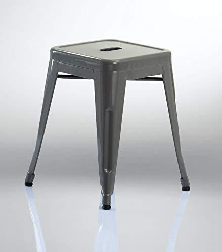 Duhome Eisen/Metall Hocker Höhe 46 cm Arbeitshocker Stapelbar und Robust Industry Design Farbauswahl 665A, Farbe:Grau, Material:Metall