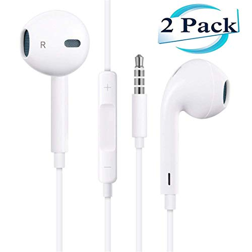 【2Pack】Headphones/Earphones/Earbuds 3.5mm Wired Headphones Noise Isolating Earphones with Built-in Microphone & Volume Control Compatible with Phone 6 SE 5S 4 Pod Pad/Android MP3