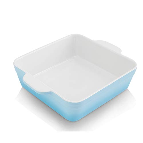 KOOV Ceramic Bakeware, 8x8 Baking Dish, Square Baking Pan, Ceramic Baking Dish, Brownie Pans for Cake Dinner, Kitchen, Gradient Series (Sky)