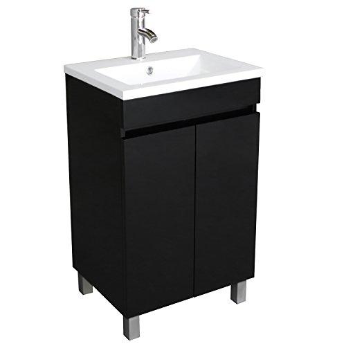 BATHJOY 20 Inch Black Single Wood Bathroom Vanity Cabinet with Undermount Vessel Sink Faucet Drain Combo
