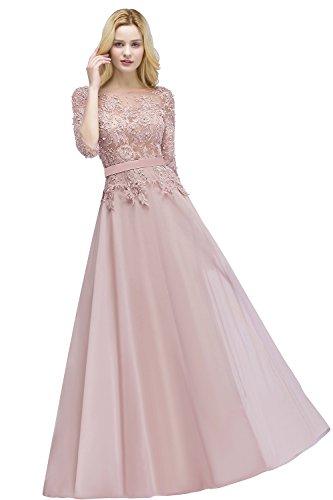 MisShow Damen Rosa Abendkleid Brautkleid Partykleid A Linie Ballkleid Maßgeschneidert Rosa Gr.38