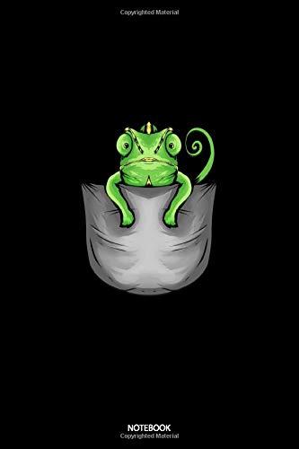 Notebook: Liniertes Notizbuch A5 - Chamäleon in Brusttasche Notizheft I Haustier Reptil Leguan Geschenk für Chamäleon Flüsterer