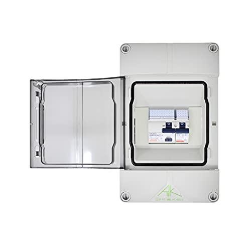 Caja de fusibles con RCD 40 A 30 mA y 1 fusible automático LSS B16 amperios, IP 65 para garaje, sótano, autocaravana, distribuidor