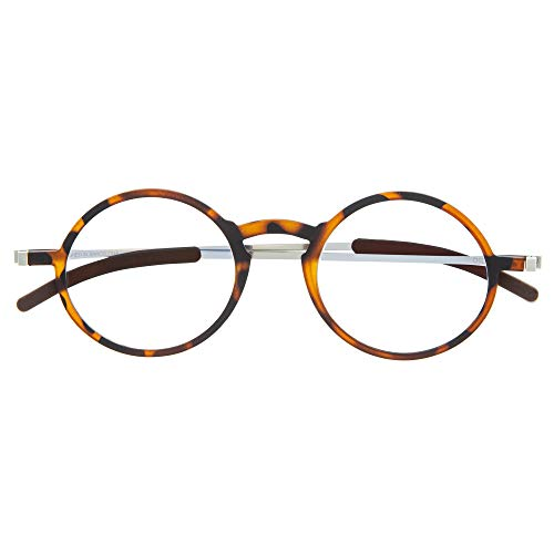DIDINSKY Gafas de Lectura Graduadas Ultra Delgadas para Hombre y Mujer. Gafas de Presbicia muy Ligeras con Lentes con Protección Luz Azul. Havana +1.5 - MACBA ROUND